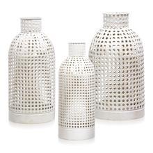 See Details - EGG SHELL  17ht 14ht 12ht  Set of 3 Pierced Metal Open Work Vases
