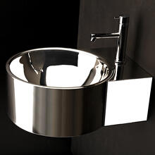 "Wall-mount or above-counter Bathroom Sink with one faucet hole and an overflow. 16 gauge stainless steel. Unfinished back. 15 3/4""W x 19 3/4""D x 7 1/4""H"