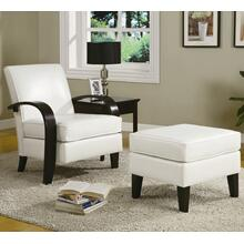 White Bonded Leather Arm Chairs with Ottoman