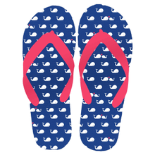 "Women's ""Beach Time"" Whale Flip Flops SM (1 pair)"