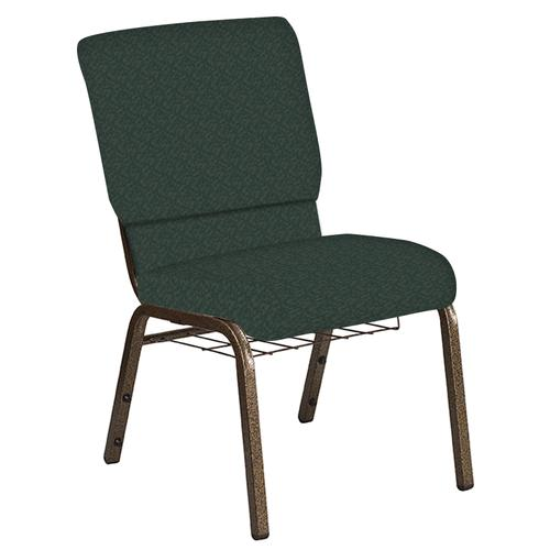Flash Furniture - 18.5''W Church Chair in Bonaire Orchard Fabric with Book Rack - Gold Vein Frame