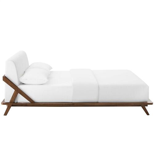 Modway - Luella Queen Upholstered Fabric Platform Bed in Walnut White