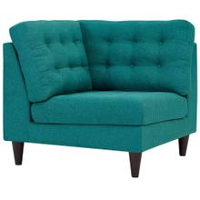 Empress Upholstered Fabric Corner Sofa in Teal