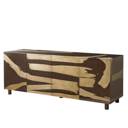 Theodore Alexander - Washi Cabinet (high Gloss Pinyon) - Walnut & Brass