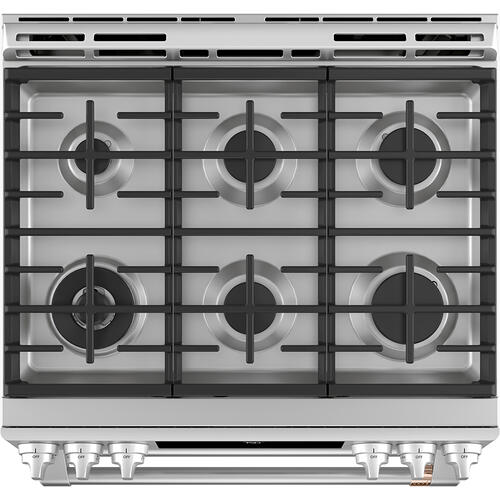 """Café 30"""" Slide-In Front Control Gas Double Oven with Convection Range Stainless Steel"""