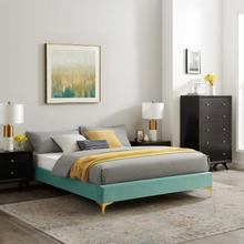 Sutton Twin Performance Velvet Bed Frame in Mint