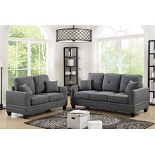Cain 2pc Loveseat & Sofa Set, Ash-black-cotton-blend