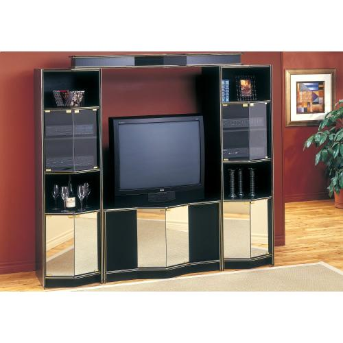 TV STAND - BLACK / BRASS HOME THEATER WITH MIRROR DOORS
