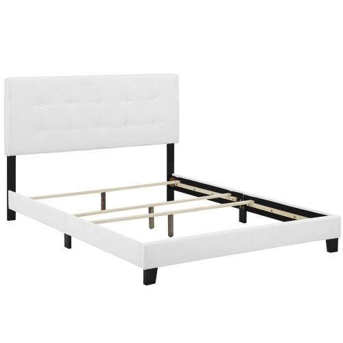 Amira King Upholstered Fabric Bed in White
