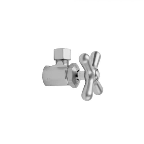 "Polished Nickel - Multi Turn Angle Pattern 3/8"" IPS x 3/8"" O.D. Supply Valve with Cross Handle"