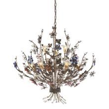See Details - Brillare 9-Light Chandelier in Bronzed Rust with Multi-colored Floral Crystals