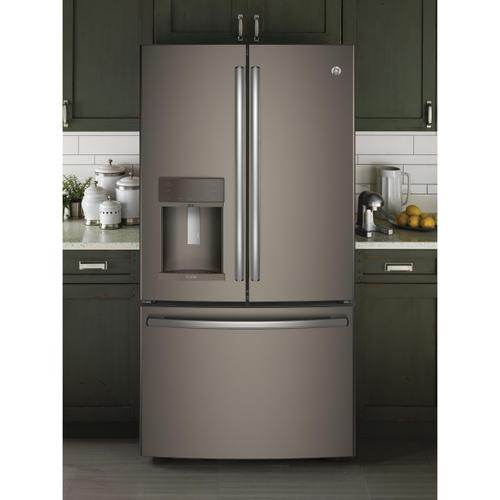 GE Profile Series ENERGY STAR® 22.2 Cu. Ft. Counter-Depth French-Door Refrigerator with Hands-Free AutoFill-Slate or Stainless-Take your pick