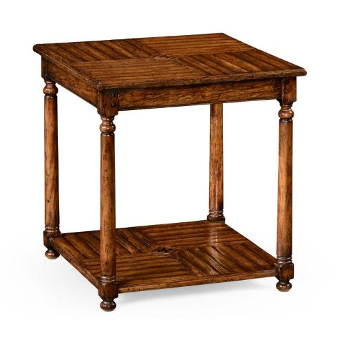 Walnut parquet square lamp table with contrast inlay