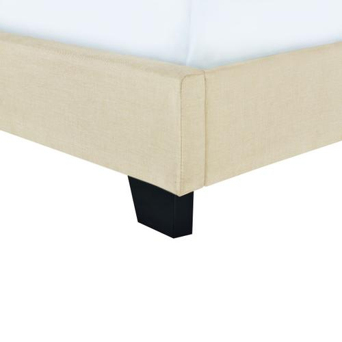 Clipped Corner Twin Upholstered Bed in Cream
