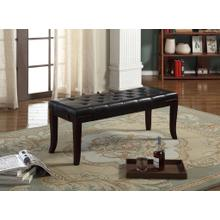Product Image - Linon Espresso Leather Tufted Ottoman Bench