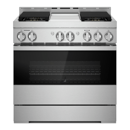 """36"""" NOIR™ Dual-Fuel Professional-Style Range with Chrome-Infused Griddle"""