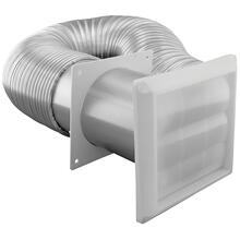 """4"""" x 8' Flex Aluminum Duct with Louvered Hood and 2 Metal Clamps"""