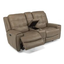Leather Power Reclining Console Loveseat with Power Headrests
