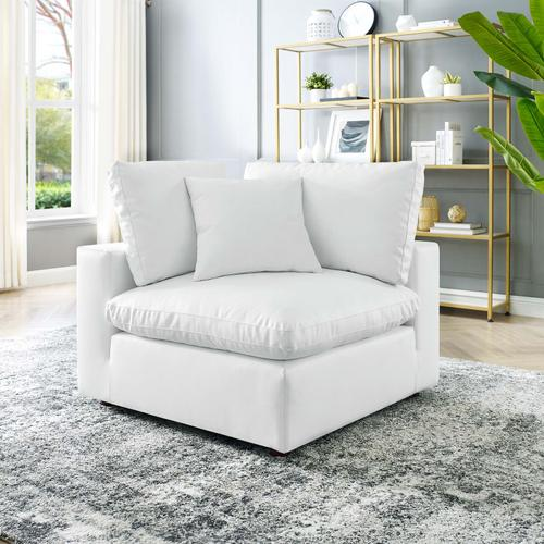 Modway - Commix Down Filled Overstuffed Vegan Leather Corner Chair in White