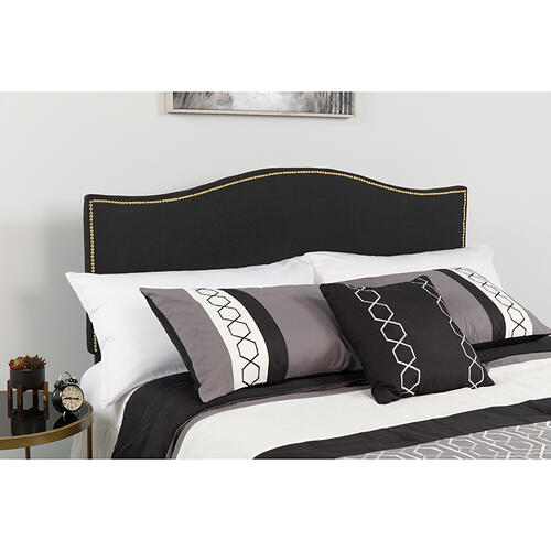 Lexington Upholstered King Size Headboard with Accent Nail Trim in Black Fabric