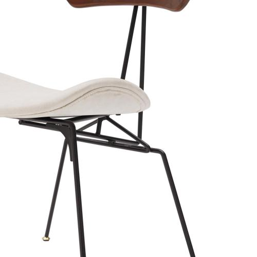 Wolfgang KD Fabric Chair Frosted Black Legs, Nox Cream