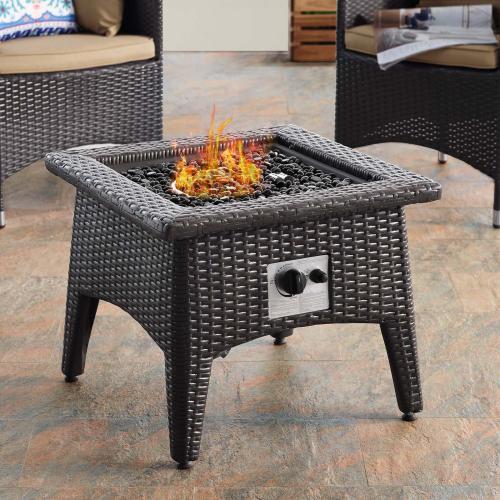 Convene 3 Piece Set Outdoor Patio with Fire Pit in Espresso Mocha