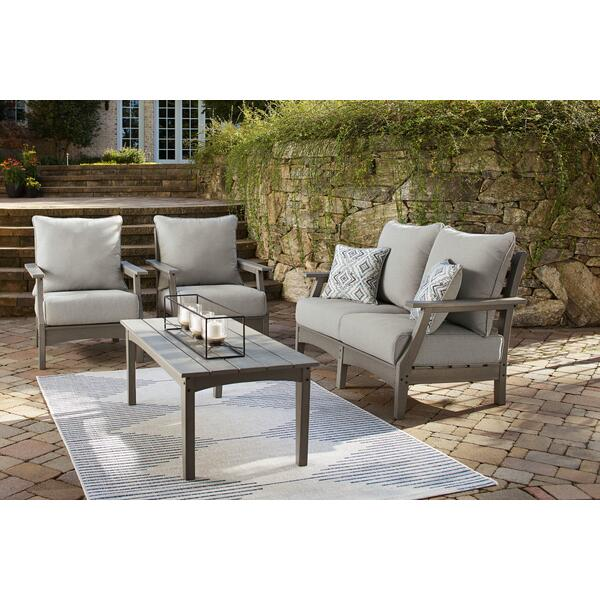 See Details - Outdoor Loveseat and 2 Chairs With Coffee Table