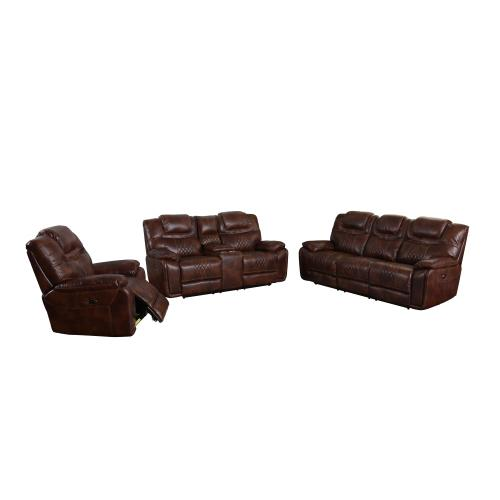 Power Reclining Living Room Set - Brown Leather Gel (3 Piece)