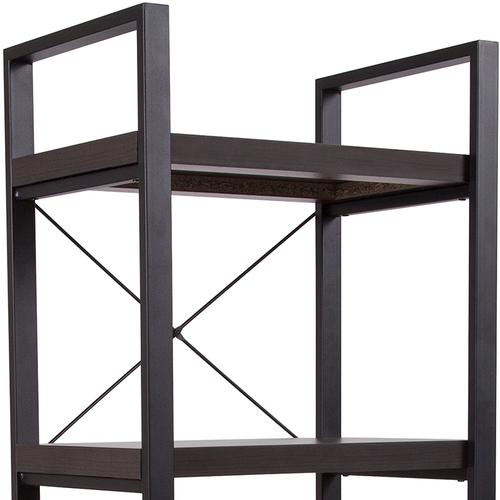 """Flash Furniture - Thompson Collection 4 Shelf 62""""H Etagere Bookcase in Charcoal Wood Grain Finish"""