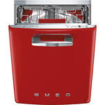 """Smeg Approx 24"""" Pre-Finished Under-Counter Dishwasher With 50'S Style Retro Handle, Red"""