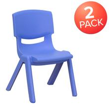 2 Pack Blue Plastic Stackable School Chair with 10.5'' Seat Height