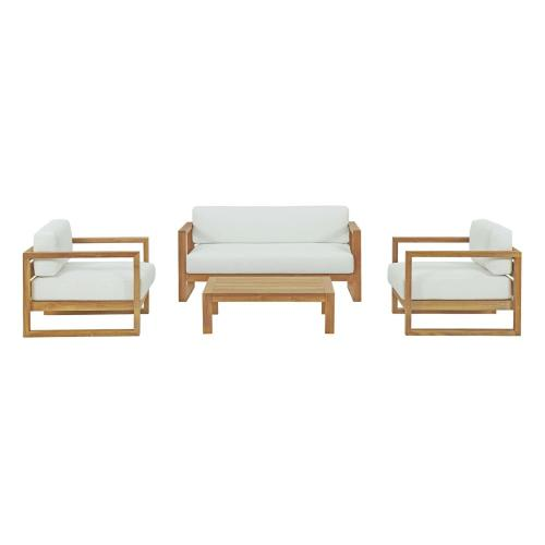 Upland 4 Piece Outdoor Patio Teak Set in Natural White