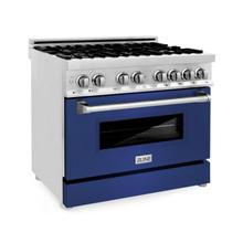 """View Product - ZLINE 36"""" Dual Fuel Range with Gas Stove and Electric Oven in Stainless Steel with Color Door Options (RA36) [Color: Blue Matte]"""