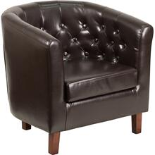 HERCULES Cranford Series Brown LeatherSoft Tufted Barrel Chair