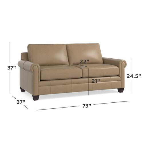 Bassett Furniture - Carolina Leather Panel Arm Studio Sofa