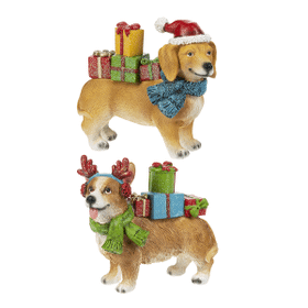 Santa Paws with Christmas Presents Figurines (6 pc. ppk.)