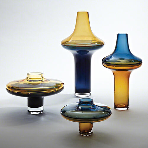 Tall Amber Over Cobalt Vase-Lg