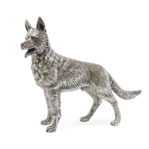 German Shepherd dog in antique white brass