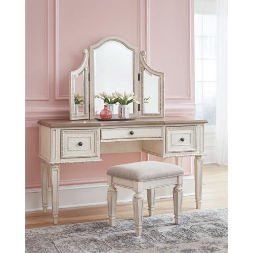 Realyn Vanity and Mirror With Stool