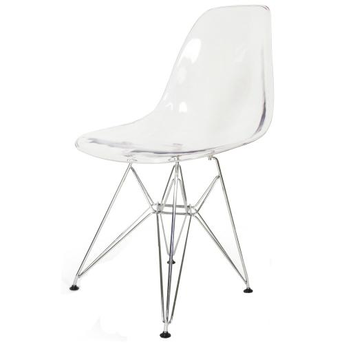 Product Image - Allen Molded PC Dining Side Chair Chrome Wire Legs, Transparent Crystal