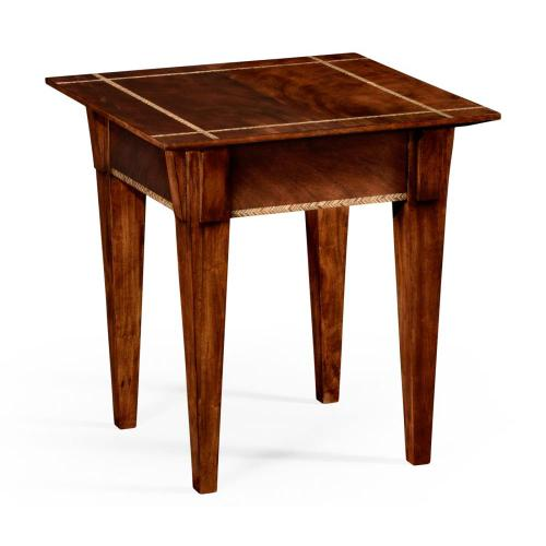 Craftsman's Mahogany Side Table with Herringbone Inlay Detail
