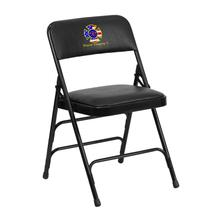 Embroidered HERCULES Series Curved Triple Braced & Quad Hinged Black Vinyl Upholstered Metal Folding Chair