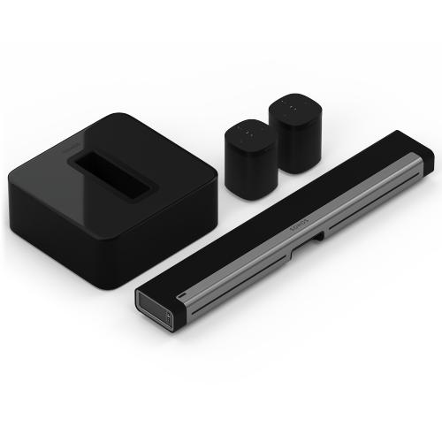 Black- A soundbar, subwoofer, and two smart speakers for vivid surround sound.