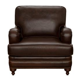 Traditional Stationary Chair with Brass Nail Head Trim in Espresso