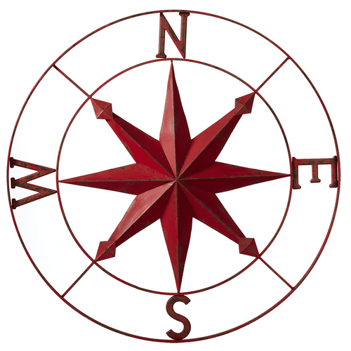 Distressed Red Compass Wall Decor