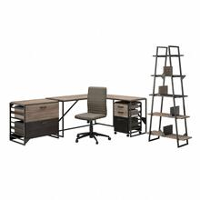 Refinery 62W L Shaped Industrial Desk and Chair Set with Storage - Rustic Gray