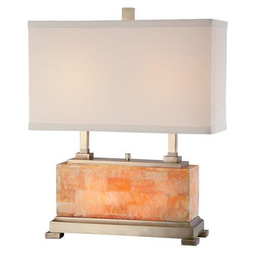 Table Lamp, Ab/marble Body/linen Shade, E27 Cfl 23wx2 & C 7w