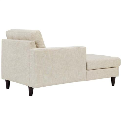 Empress Left-Arm Upholstered Fabric Chaise in Beige