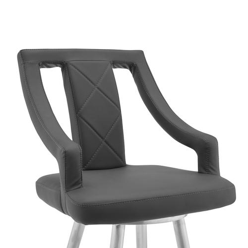 """Armen Living - Maxen 30"""" Gray Faux Leather and Brushed Stainless Steel Swivel Bar Stool"""