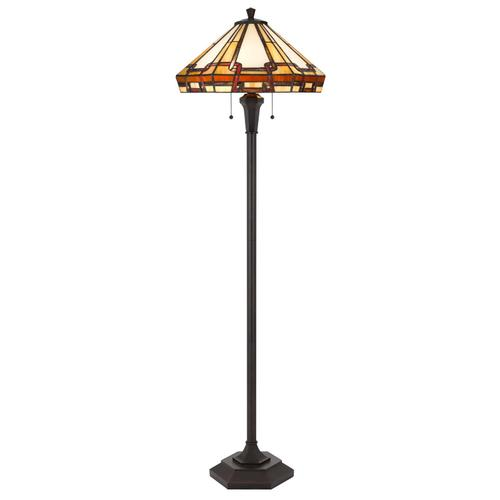 Cal Lighting & Accessories - 60W x 2 Tiffany table lamp with pull chain switch with metal and resin lamp body